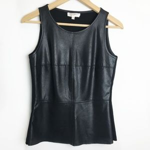 Kenar | Faux Leather Front Peplum Sleeveless Top